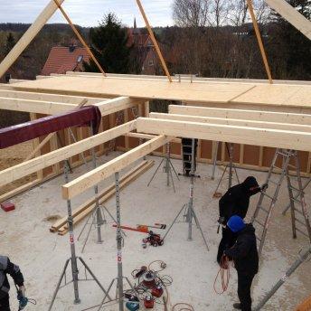 Balkenlage Dachstuhl Schritt 2