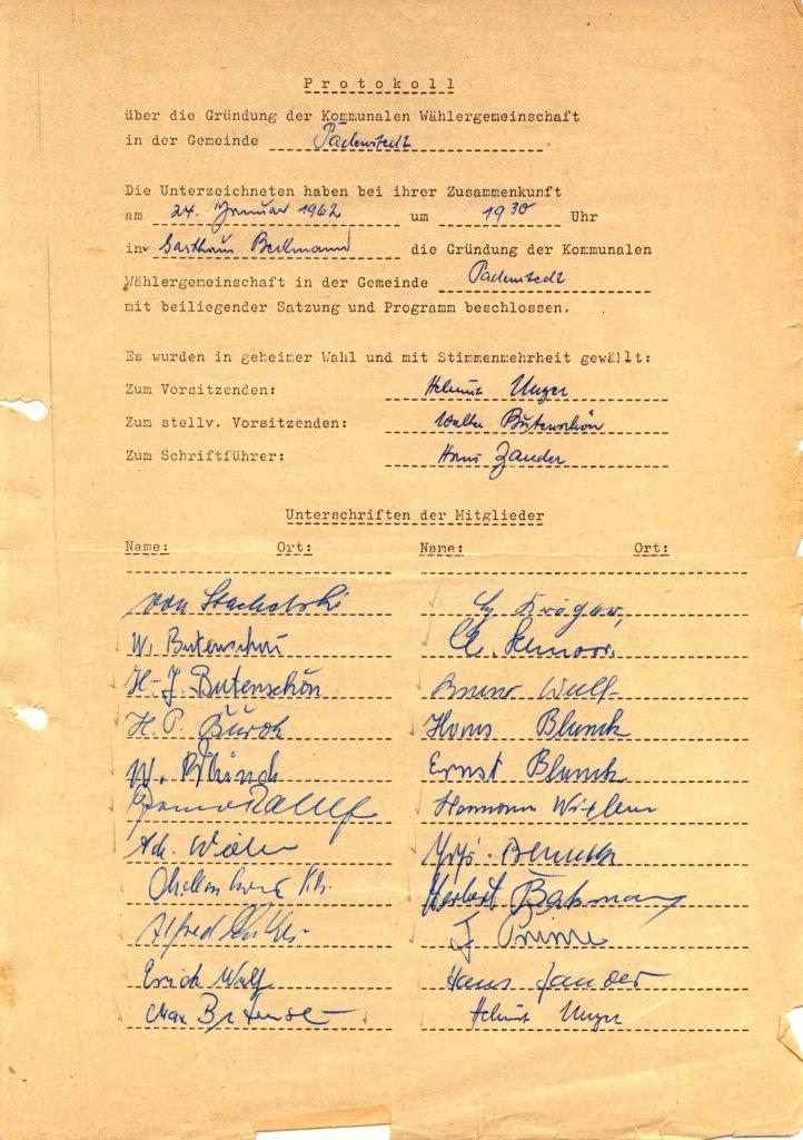 Wählergemeinschaft Padenstedt Gründungsurkunde 1962
