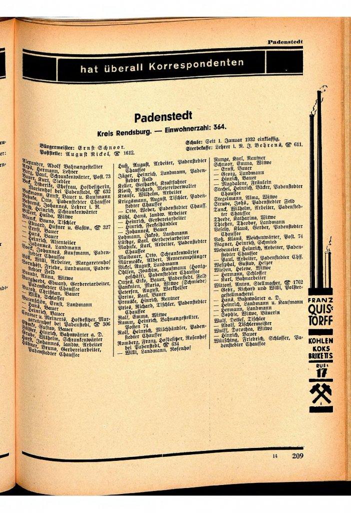 Einwohner im Jahre 1932