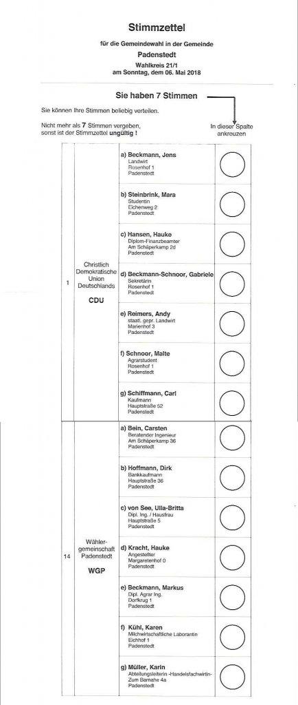 2018 Stimmzettel Padenstedt