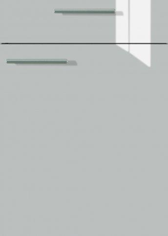 H40065599 sandbeige metallic Hochglanz, Lacklaminat, MDF-Trägerplatte mit umlaufender gerundeten Hochglanzdickkante, Rückseite weiß