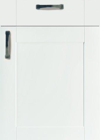 H43567099 weiß matt, MDF-Trägerplatte gefräst in Rahmenoptik, Oberfläche mit Folie ummantelt, Rückseite weiß