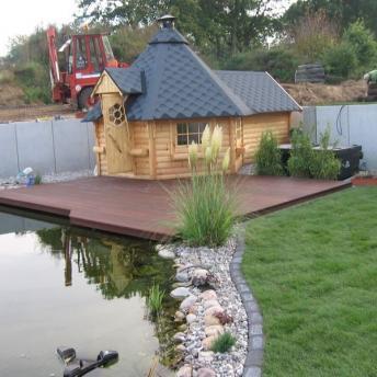 fertiger Teich mit Grillkota