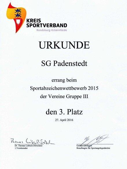 2016 Urkunde Sportabzeichen