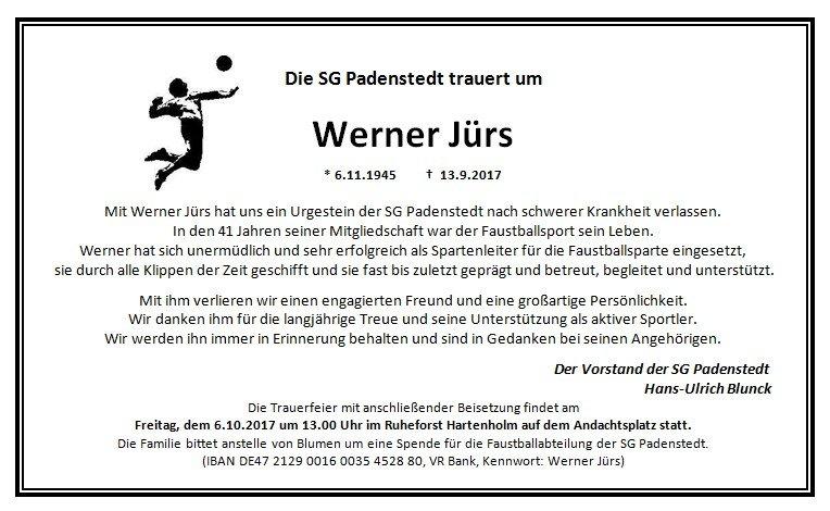 2017 Traueranzeige Werner Jürs