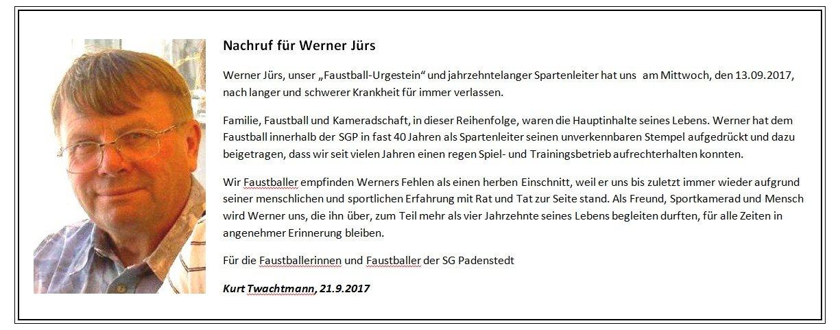 2017 Nachruf Werner Jürs